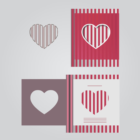 Template cards with red lines Illustration