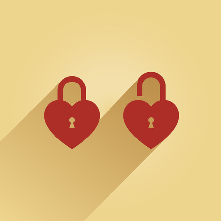 sound bite: 2 lock in the shape of a heart one is opened, the other closed  Illustration