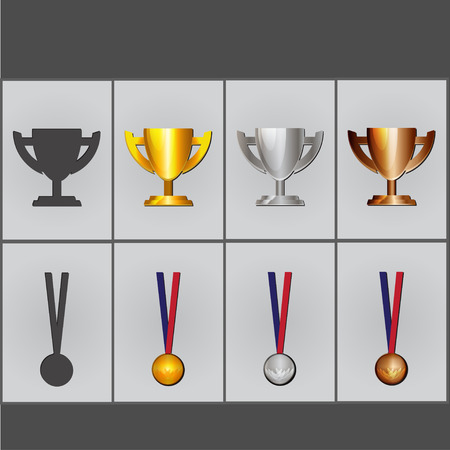 bandwagon: Set of cups and medals Illustration