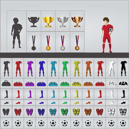 object complement: Football kit outfit in icons Illustration