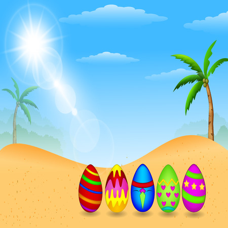 Easter eggs colorful, Background landscape