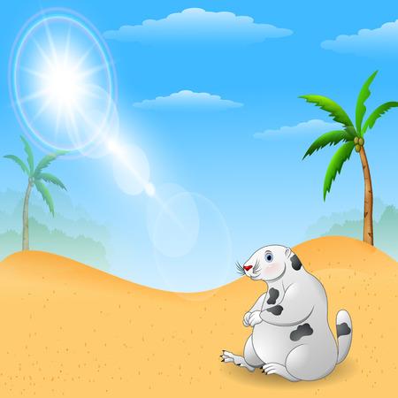 Marmot cartoon mascot funny and cute, Scenery Illustration Vector