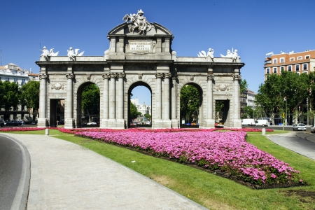 neo classical: Puerta de Alcala  Alcala Gate  in Madrid, Spain on a shiny spring day  Stock Photo