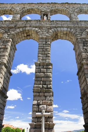 segovia: Romanesque Aqueduct of Segovia low point of view Stock Photo