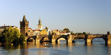 europe eastern: Panoramic view of Charles bridge and Vltava river in Prague at sunset