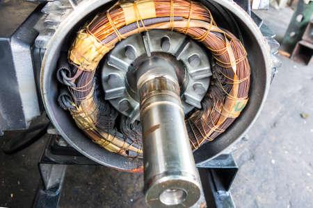 bobina: Motor circuito de choque el�ctrico, queme la bobina de cobre Foto de archivo