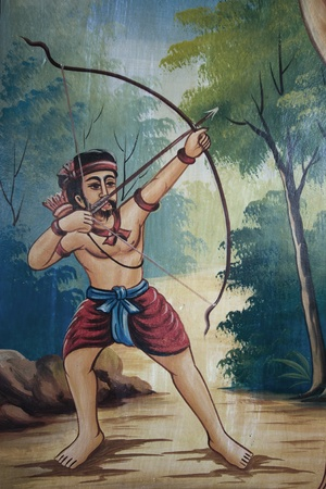 Art thai painting on wall in temple photo