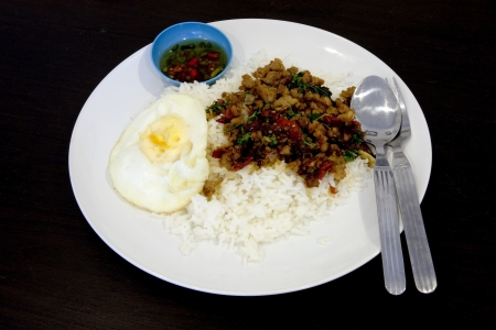 Pork Basil Fried Rice with Fried egg photo