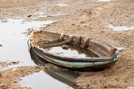 Abandoned boats on Riverside At Pulicat, Tamil Nadu, India