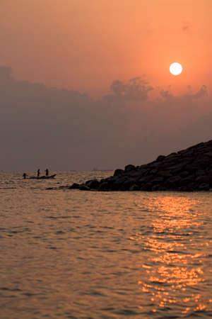 Dawn To Sunrise At Bay Of Bengal North Chennai, Tamil Nadu, India With Orange Sky, Reflected Sunrays