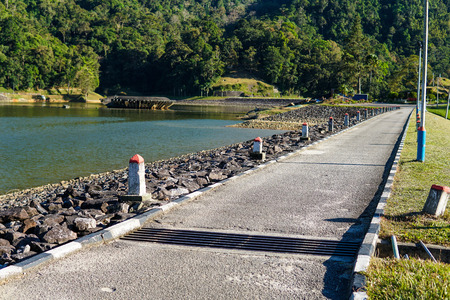 Lake dam water reservoir for hydroelectric power generation - Image Stock fotó