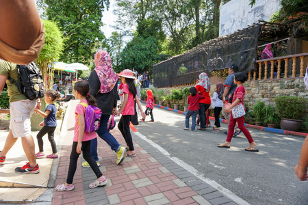 JOHOR, MALAYSIA - FEBRUARY 2019 : Malaysian spending their Chinese New Year long holiday visiting the Johor Zoo in Johor Bahru. Editorial