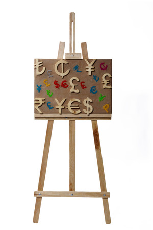 Oil painting world economy picture on easel says yes and sell photo