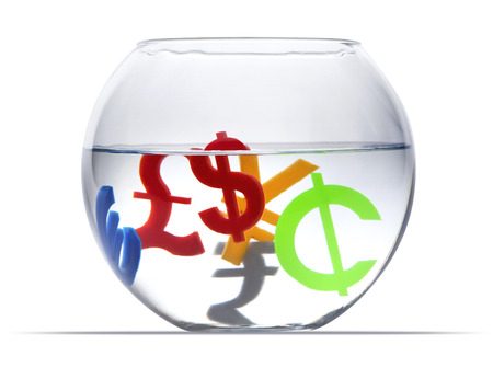 Colorful international economy icons in aquarium on a white background photo