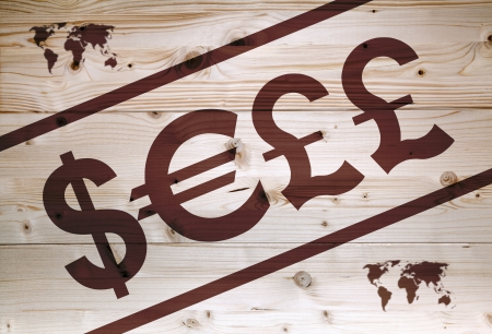 Sell article  with currency units on wooden background photo