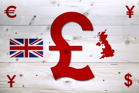 International red currency units around of English Sterling on wooden background photo
