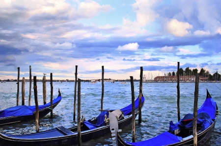 A view from world famous touristic city Venice Italy photo