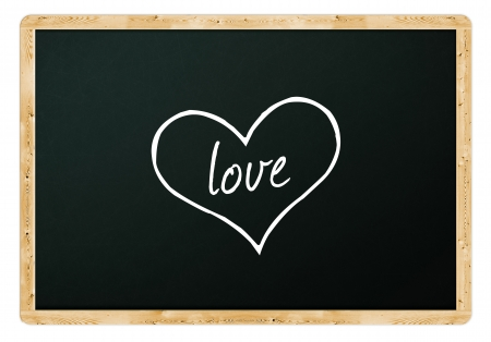 Love notes on class blackboard for St. Valentine's Day photo