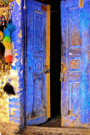 An old blue door oil painting from beautiful tourism city Bodrum photo