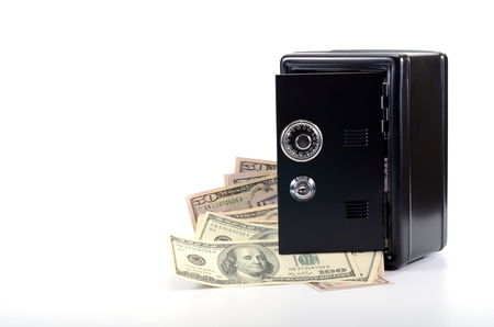 Saving your money , steel safe with money, over white background, money insurance concept Stock Photo - 16995421