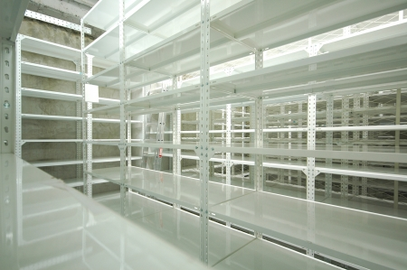 empty warehouse: Empty warehouse racks, Empty metal shelf in storage room, storage concept