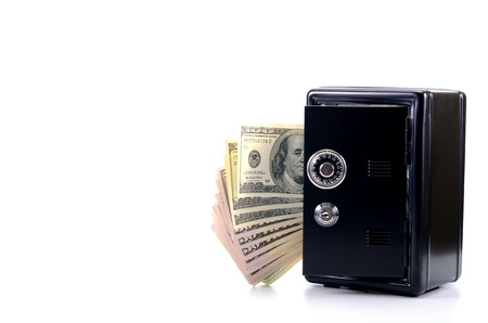 Saving your money , steel safe with money, over white background, money insurance concept Stock Photo - 16995499