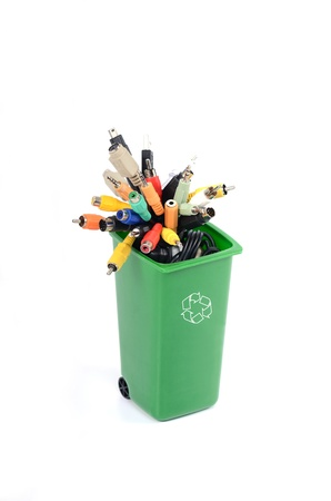 Recycle Bin filled with electronic waste , recycling electronics, recycling e-waste photo