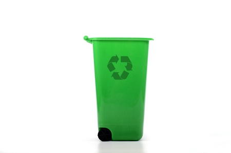 litterbin: Empty green plastic recycle bin isolated, recycling concept