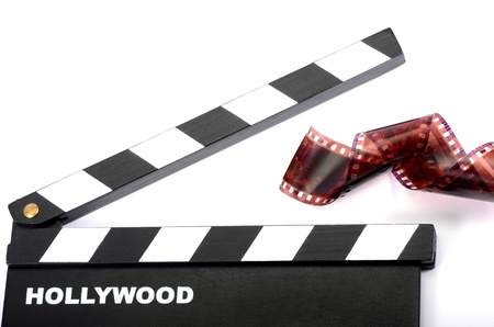 35 mm: Movie clapper board and film strip