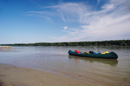 Canoeing on the river Danube near Novi Sad , Serbia Stock Photo