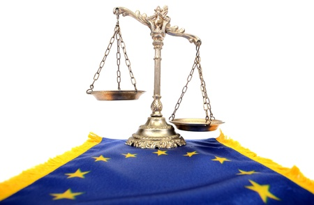 Scales of justice and Flag of European union Stock Photo