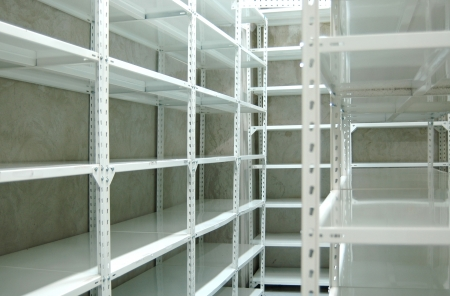 Empty warehouse racks, Empty metal shelf in storage room, storage concept