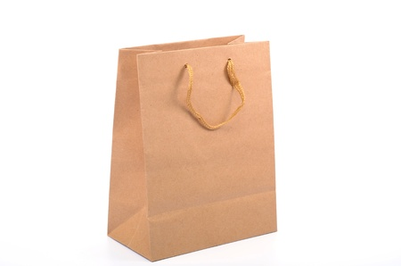 Empty recycled paper shopping bag, safe shopping, saving enviroment shopping, recycle concept