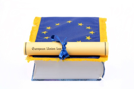 European Union law , European union flag  and Law book on the white background, law concept