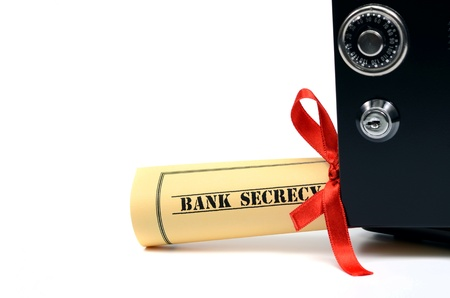 Bank secrecy concept, steel safe isolated Stock Photo