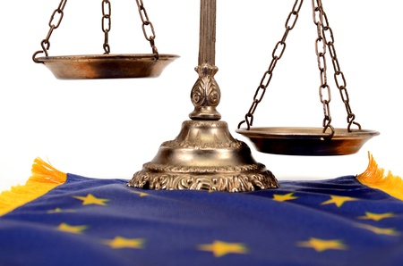 Scales of justice on the European Union flag, European Union law concept