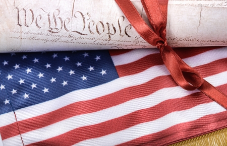 constitution:  United States of America Constitution and USA flag, USA law concept Stock Photo