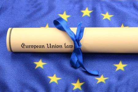 European union law on the European union flag , EU legal system concept