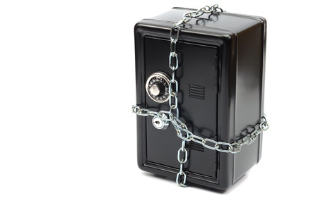 Saving your money , steel safe in chains over white background, money insurance concept