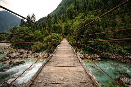rope bridge: Hanging rope bridge over emerald mountain river Soca, Slovenia