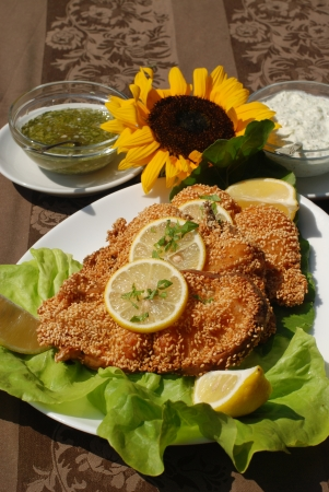 Delicious spiced catfish escalope in sesame Stock Photo