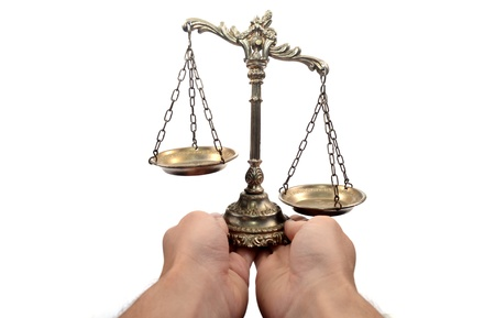 jury: Holding Decorative Scales of Justice,  isolated, law and justice concept