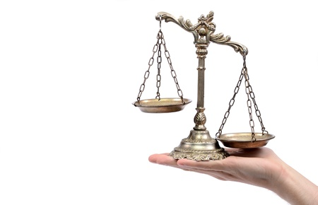 Holding Decorative Scales of Justice,  isolated, law and justice concept