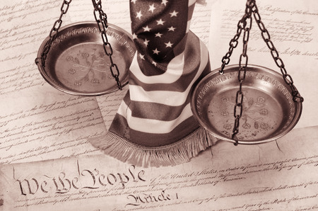 us constitution: Scales of justice , American flag and US Constitution