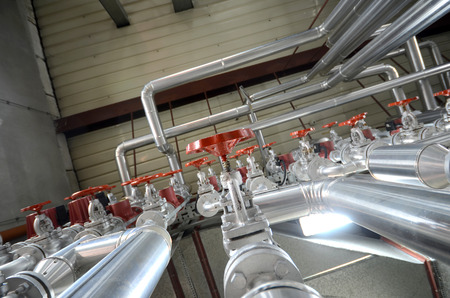 Industry oil and gas pipes, concept of industry systems, steel pipelines