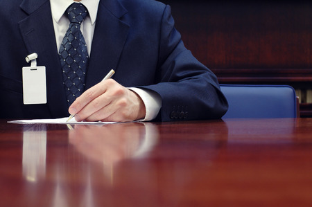 contract signing: Businessman working on the contract, business  meeting , contract signing concept