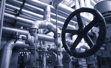 Industry oil and gas pipes, concept of industry systems, steel pipelines, blue toned Stock Photo