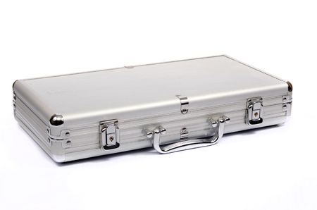 Metallic suitcase on white background, metalic briefcase isolated Stock Photo