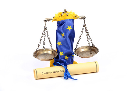 europeans: European union law , scales of Justice,  European union flag , isolated  on the white background.