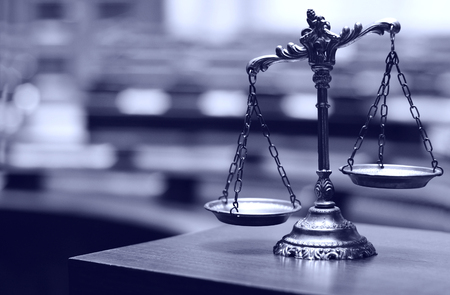 trial balance: Symbol of law and justice in the empty courtroom, law and justice concept. Stock Photo